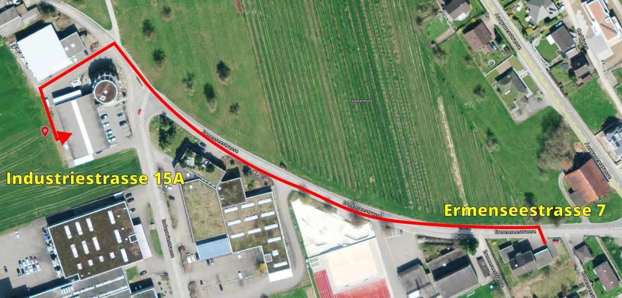 Weg nach Industriestrasse 15A von Ermenseestrasse 7